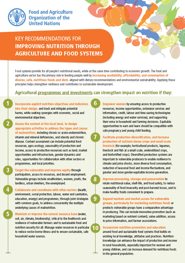 key recommendations for improving nutrition through agriculture and
