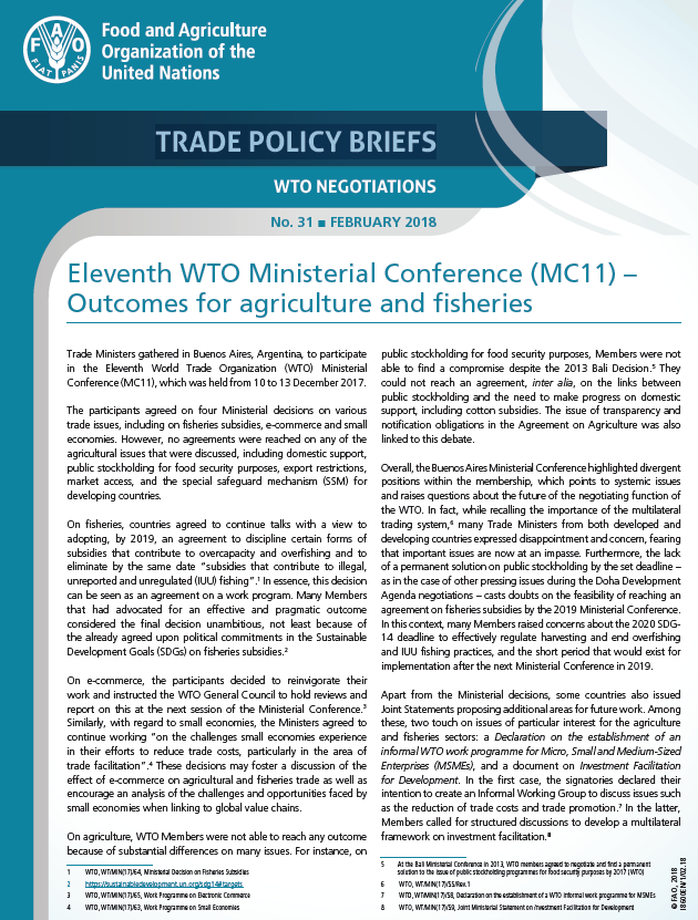 Eleventh Wto Ministerial Conference Mc11 Outcomes For Agriculture