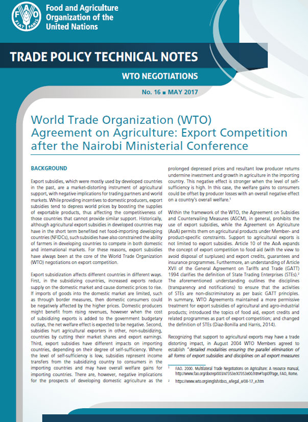 World Trade Organization Wto Agreement On Agriculture Export