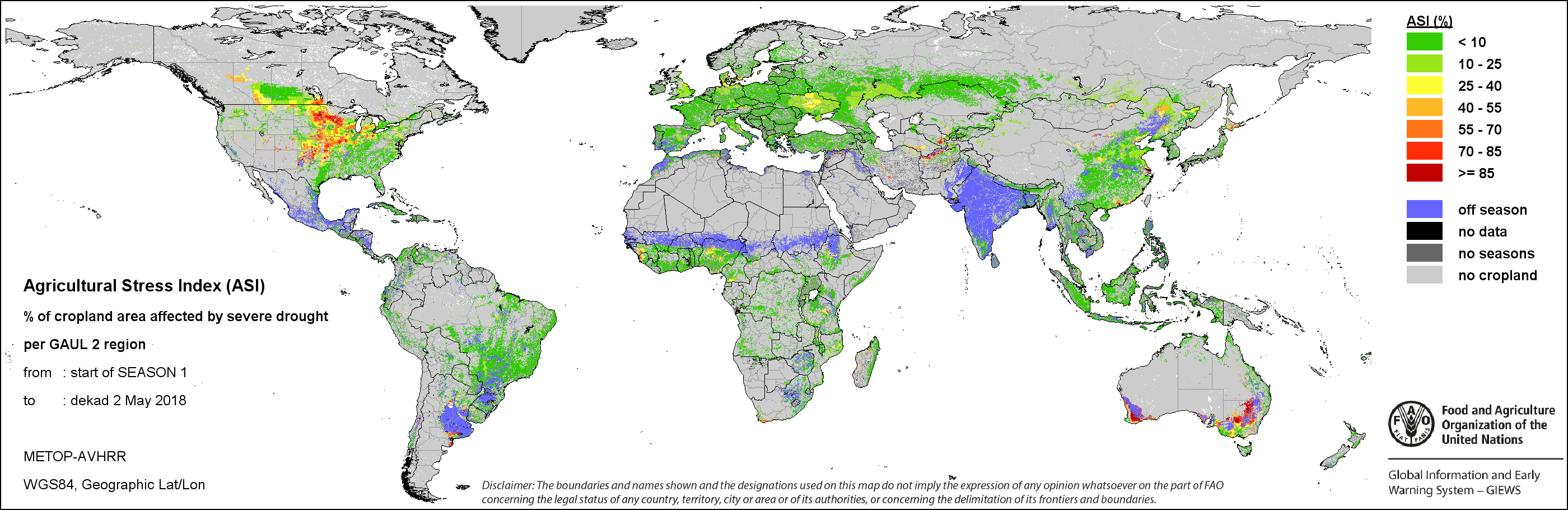 FAO GIEWS Earth Observation Seasonal Global Indicators METOP NDVI