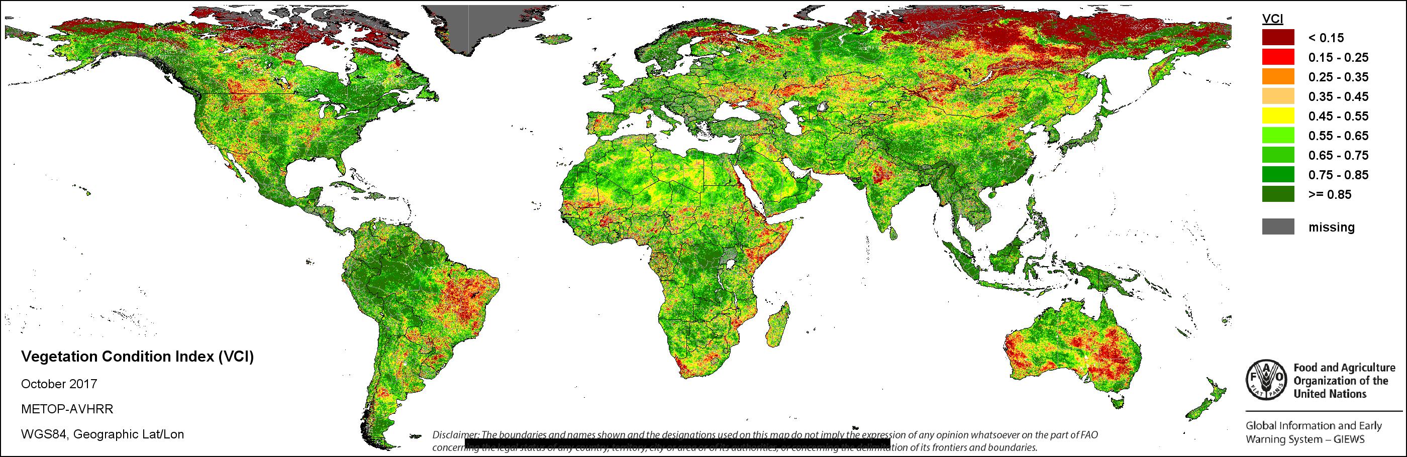 FAOGIEWS Earth ObservationSeasonal Global IndicatorsMETOP - Norway vegetation map
