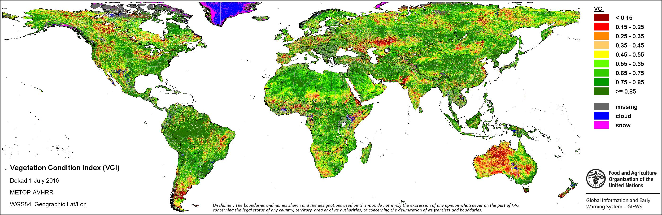 FAO,GIEWS, Earth Observation,Seasonal Global Indicators,METOP, NDVI ...