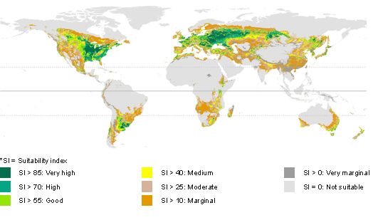 GAEZ Agricultural Suitability And Potential Yields - Us map marginal lands